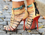 Red Snakeskin Strappy Heels